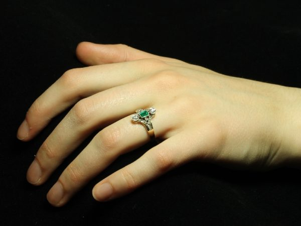Antique Victorian Emerald Diamond Three Stone Ring