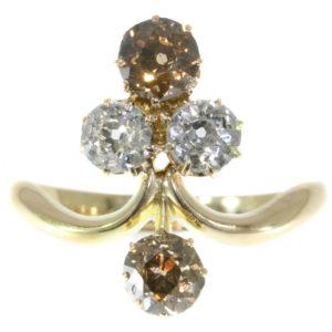 Antique Victorian Fancy Colour Old Brilliant Cut Diamond Ring