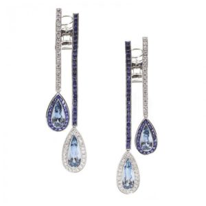 Aquamarine Sapphire Diamond Double Drop Earrings