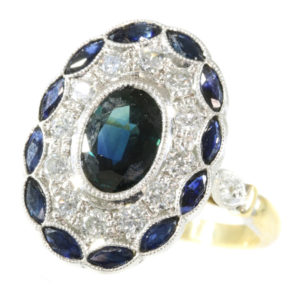 Art Deco Style Sapphire Diamond Cluster Gold Ring
