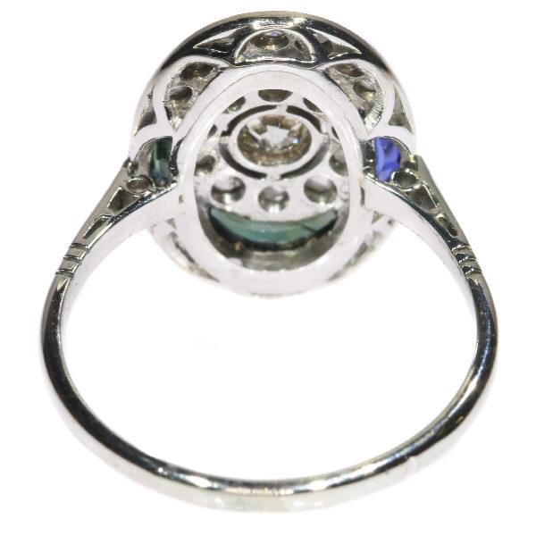 Belle Époque Style Diamond Sapphire Cluster Ring