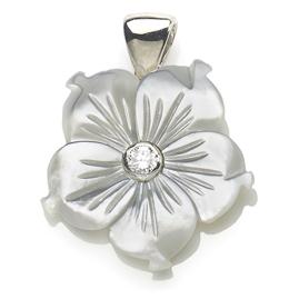 Diamond & Mother of Pearl Flower Pendant
