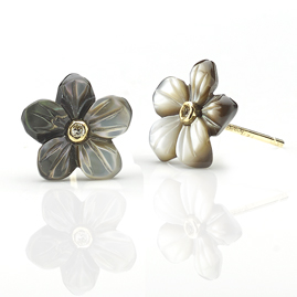 Diamond Set Black Mother of Pearl Flower Earrings