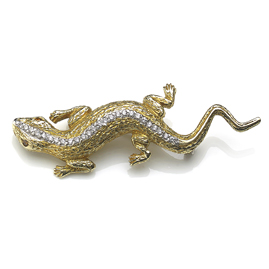 Diamond Set Lizard Brooch