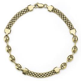 Mesh & Anchor Link 18ct Gold Bracelet