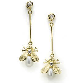 Pearl & Diamond Bee Gold Drop Earrings