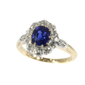 Engagement Antique Victorian Burma Sapphire Diamond Cluster Ring