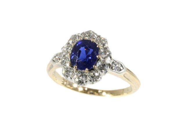 Engagement Antique Victorian Burma Sapphire Diamond Cluster Ring