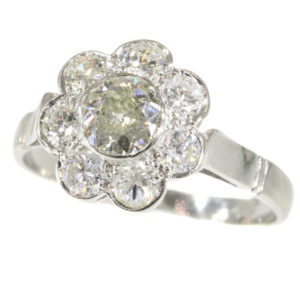 Vintage 1.32ct Diamond Cluster Platinum Ring