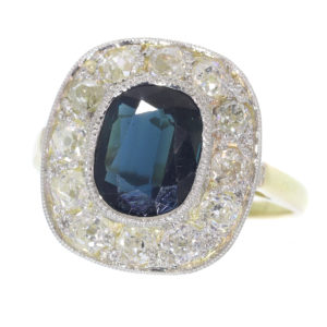 Vintage 2.30ct Sapphire Diamond Cluster Ring