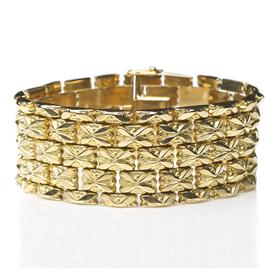Vintage Wide Fancy Link 18ct Gold Bracelet