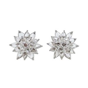 rose pear shape diamond cluster earrings fine jewellery flower star