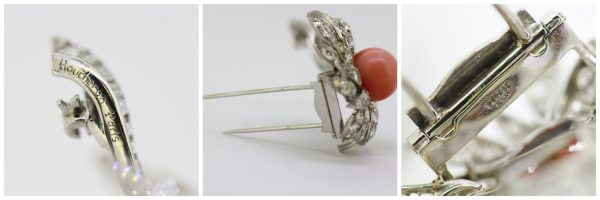 Vintage Boucheron 18ct White Gold Coral and Diamond Flower Brooch