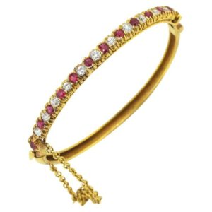Antique Art Deco French Burma Ruby and Diamond Bangle, 18ct Yellow Gold