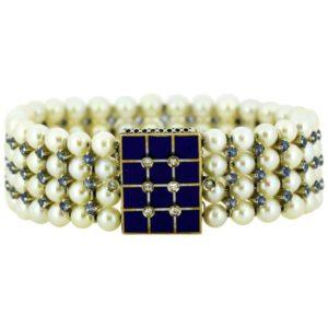 Antique Art Deco Freshwater Pearl, Aquamarine, Enamel and Diamond Bangle
