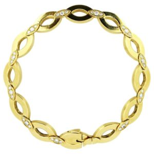 Vintage Cartier Diamond Set 18ct Yellow Gold Bracelet