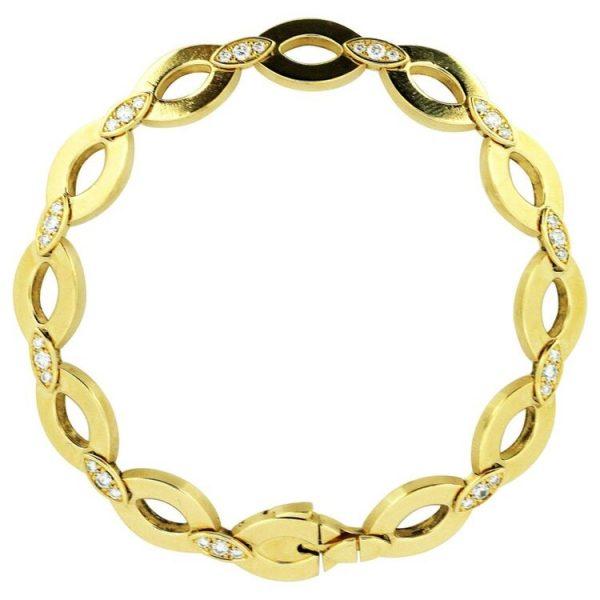 Vintage Cartier Diamond Set 18ct Yellow Gold Bracelet