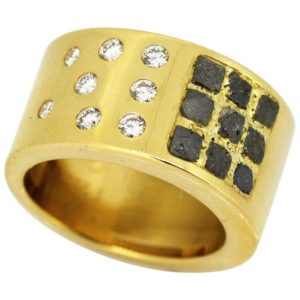 Vintage Cartier Diamond and Rough Black Diamond Set 18ct Yellow Gold Ring