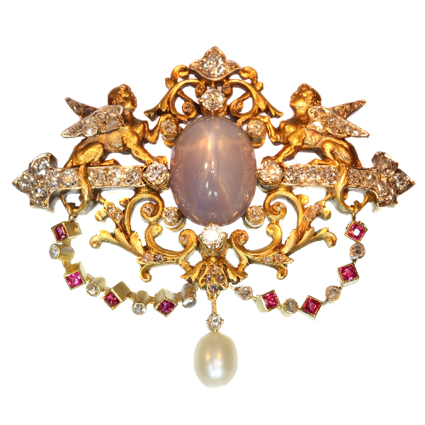 Antique Victorian French Diamond and Star Sapphire Sphinx Brooch