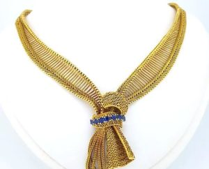 Vintage 1960's Sapphire and Diamond Gold Collar Necklace