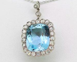 Art Deco Aquamarine and Rose Cut Diamond Pendant set in Platinum