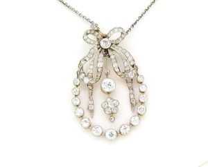 Art Deco 2.00ct Diamond Pendant Brooch in Platinum and 18ct Gold