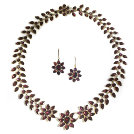 Antique Georgian Floral Garnet Necklace And Earrings