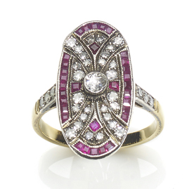 Art Deco Ruby Diamond Plaque Ring