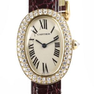 Cartier Baignoire Diamond 18ct Yellow Gold Ladies Watch 22x31mm