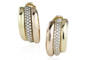 Vintage Cartier Trinity Diamond 18ct Yellow Gold Clip On Earrings