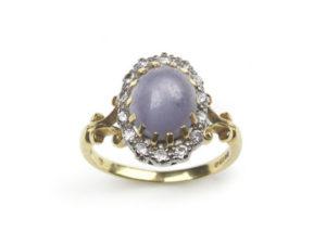 Vintage Star Sapphire & Diamond Cluster Ring
