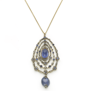 Antique Victorian Sapphire & Diamond Garland Pendant