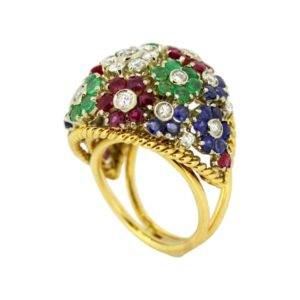Vintage Gem Set Floral Dome Cluster Ring in 18ct Yellow Gold