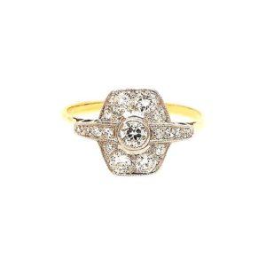 Vintage 1930's Diamond Plaque Ring, 0.55 carat total
