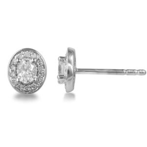 Oval-Cut Diamond Cluster Stud Earrings, 0.44 carat total