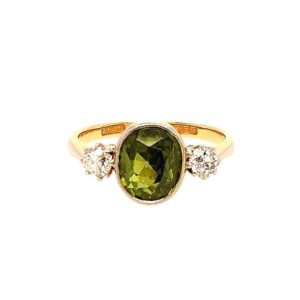 Vintage 1930's Green Zircon and Diamond Trilogy Ring in 18ct Yellow Gold