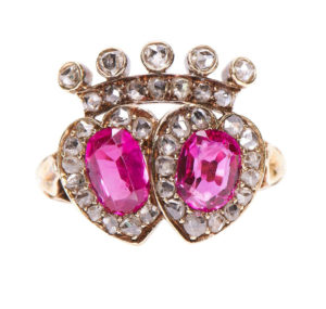 Antique Victorian Burmese Pink Sapphire and Diamond Double Heart Ring
