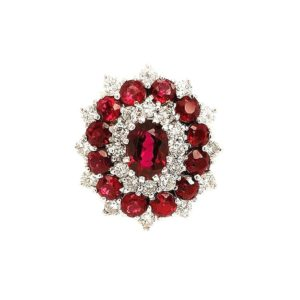 Garnet and Diamond Cluster Ring, 0.85cts, set in 18ct White Gold
