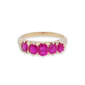 Antique Victorian Burmese Ruby Five-Stone Ring, set in 18ct Yellow Gold