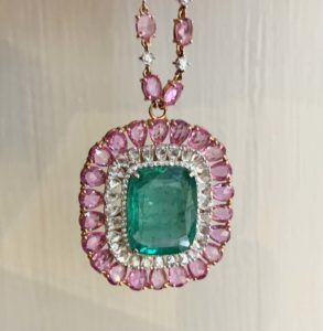 Emerald, Diamond and Pink Sapphire Cluster Necklace, 37.10 carat total