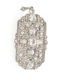 Art Deco Diamond Brooch Pendant totaling 8.50 carats