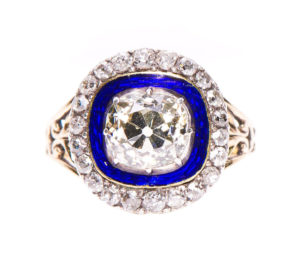 Antique Georgian Old-Cut Diamond and Blue Enamel Cluster Ring, 2.75cts