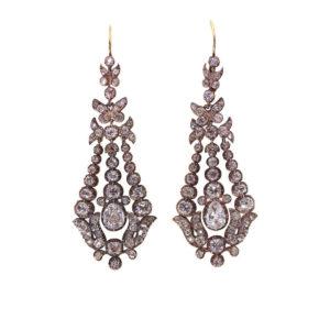 Antique Victorian Chandelier Old-Cut Diamond Drop Earrings, Circa 1840
