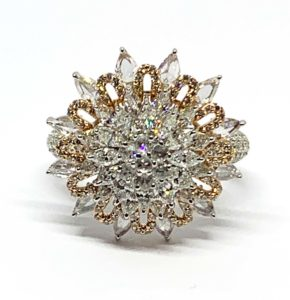 Diamond Cluster Cocktail Dress Ring, 2.51 carat total