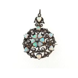 Antique Opal and Old-Cut Diamond Pendant Brooch, Circa 1910