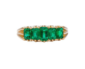 Antique Edwardian Emerald Five-Stone Ring, 1.59 carats, 18ct Yellow Gold