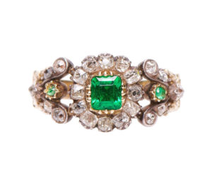 Antique Georgian Emerald and Diamond Floral Cluster Ring, Circa 1800