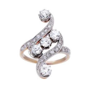 Art Nouveau Belle Epoque Diamond Dress Ring, 1.00 carats