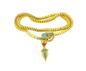 Antique Georgian Gold Turquoise Ruby and Diamond Snake Necklace