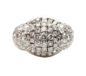 Retro Diamond Bombe Cluster Cocktail Ring, 4.00 carat total
